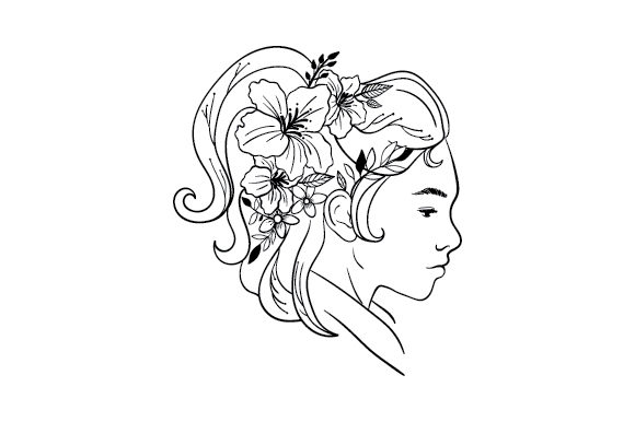 Woman with Floral Hair Designs & Drawings Craft Cut File By Creative Fabrica Crafts - Image 1