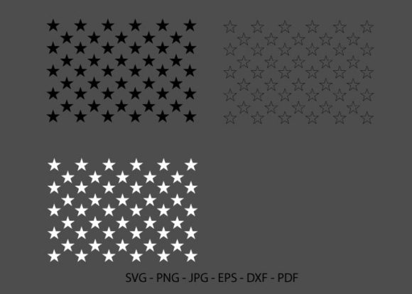 50 Stars, USA Flag Stars, American Flag Graphic Crafts By RedCreations
