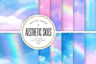 Print on Demand: Aesthetic Sky Backgrounds - Blue & Pink Graphic Backgrounds By Sabina Leja