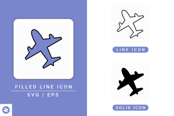 Print on Demand: Airplane Icons Set Graphic Icons By zenorman03