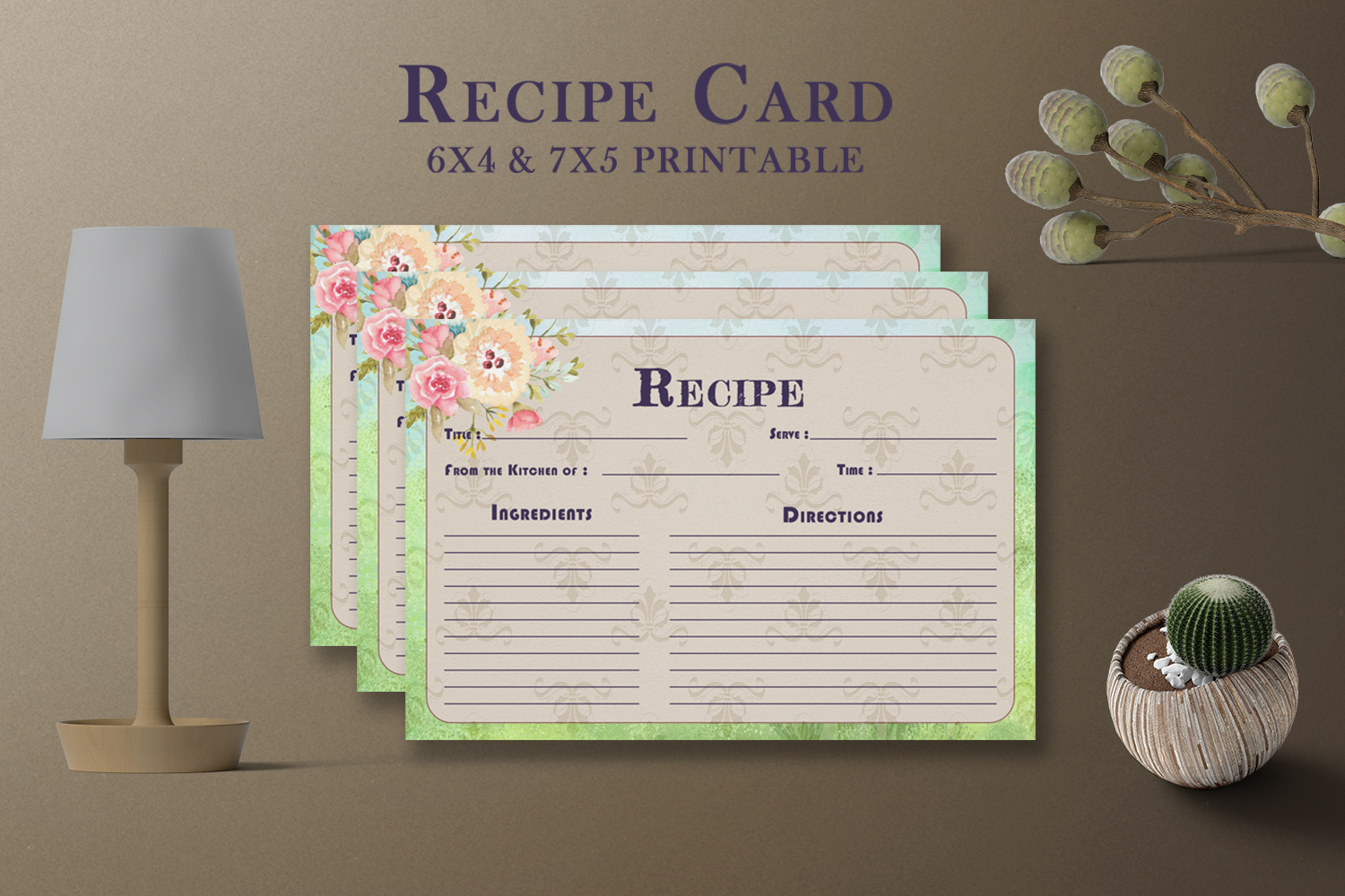 Artistic Floral Recipe Card Template V27 Graphic By Creative Tacos Creative Fabrica