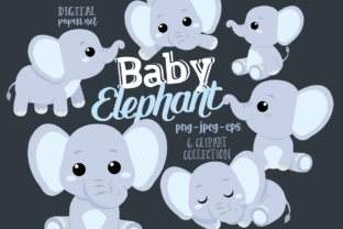 Print on Demand: Baby Elephants Clipart - Blue Graphic Illustrations By DigitalPapers