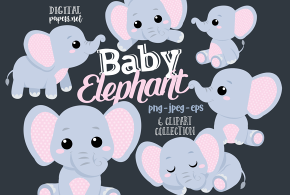 Print on Demand: Baby Elephants Clipart - Pink Graphic Illustrations By DigitalPapers