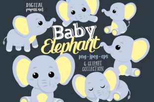 Print on Demand: Baby Elephants Clipart - Yellow Graphic Illustrations By DigitalPapers
