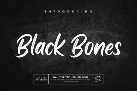 Print on Demand: Black Bones Script & Handwritten Font By Din Studio
