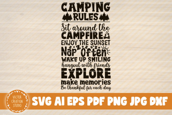 Download Camping Rules SVG Cut Files