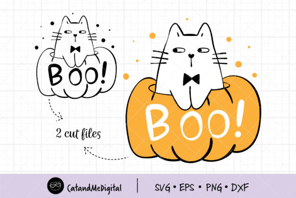 Cat in Pumpkin Holloween Graphic Illustrations By CatAndMe