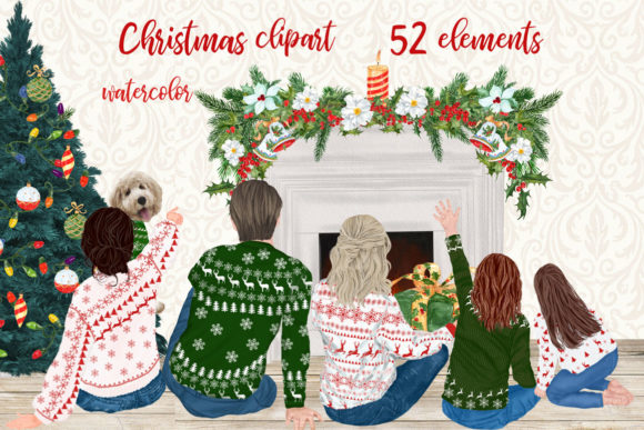 Christmas Family Clipart Mug Clipart Graphic Illustrations By LeCoqDesign