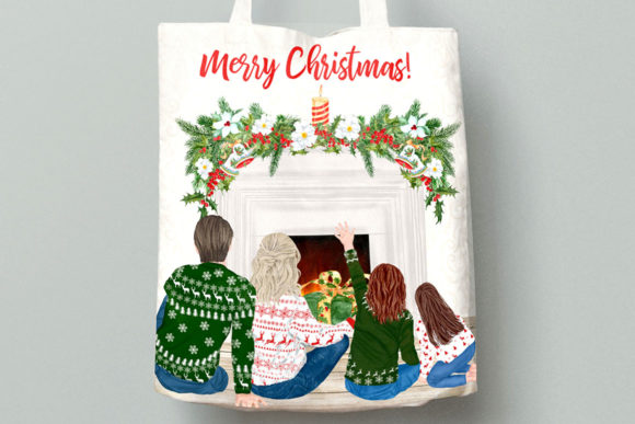 Christmas Family Clipart Mug Clipart Graphic Downloadable Digital File