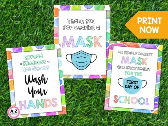 Print on Demand: Classroom Mask Signs, Printable Graphic Teaching Materials By A to Z Parties