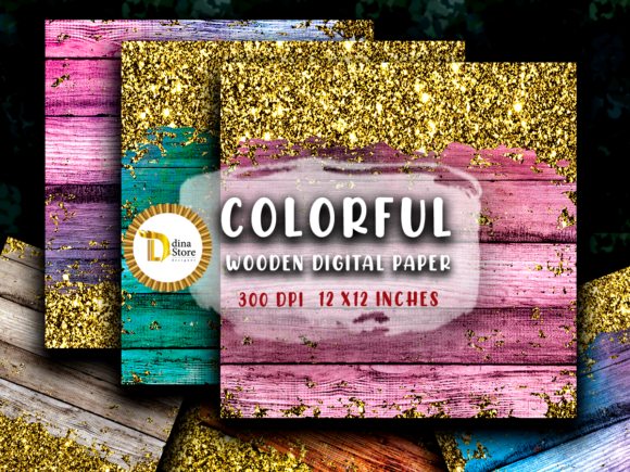 Print on Demand: Coloful Wooden Digital Paper &glitter Graphic Backgrounds By dina.store4art