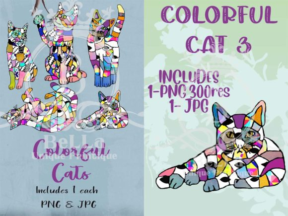 Colorful Cats Graphic Illustrations By BellaUniquePrintique