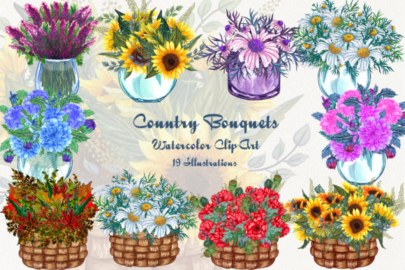 Country Bouquets Watercolor Clip Art Graphic Illustrations By BarvArt