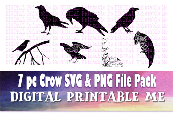 Print on Demand: Crow Silhouette Clip Art Pack SVG PNG 7 Graphic Illustrations By DigitalPrintableMe