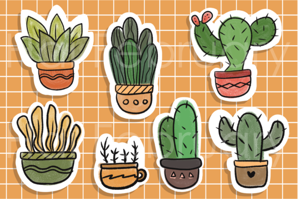 Print on Demand: Cute Cactus Succulent Stickers Digital Graphic Illustrations By haifebruary