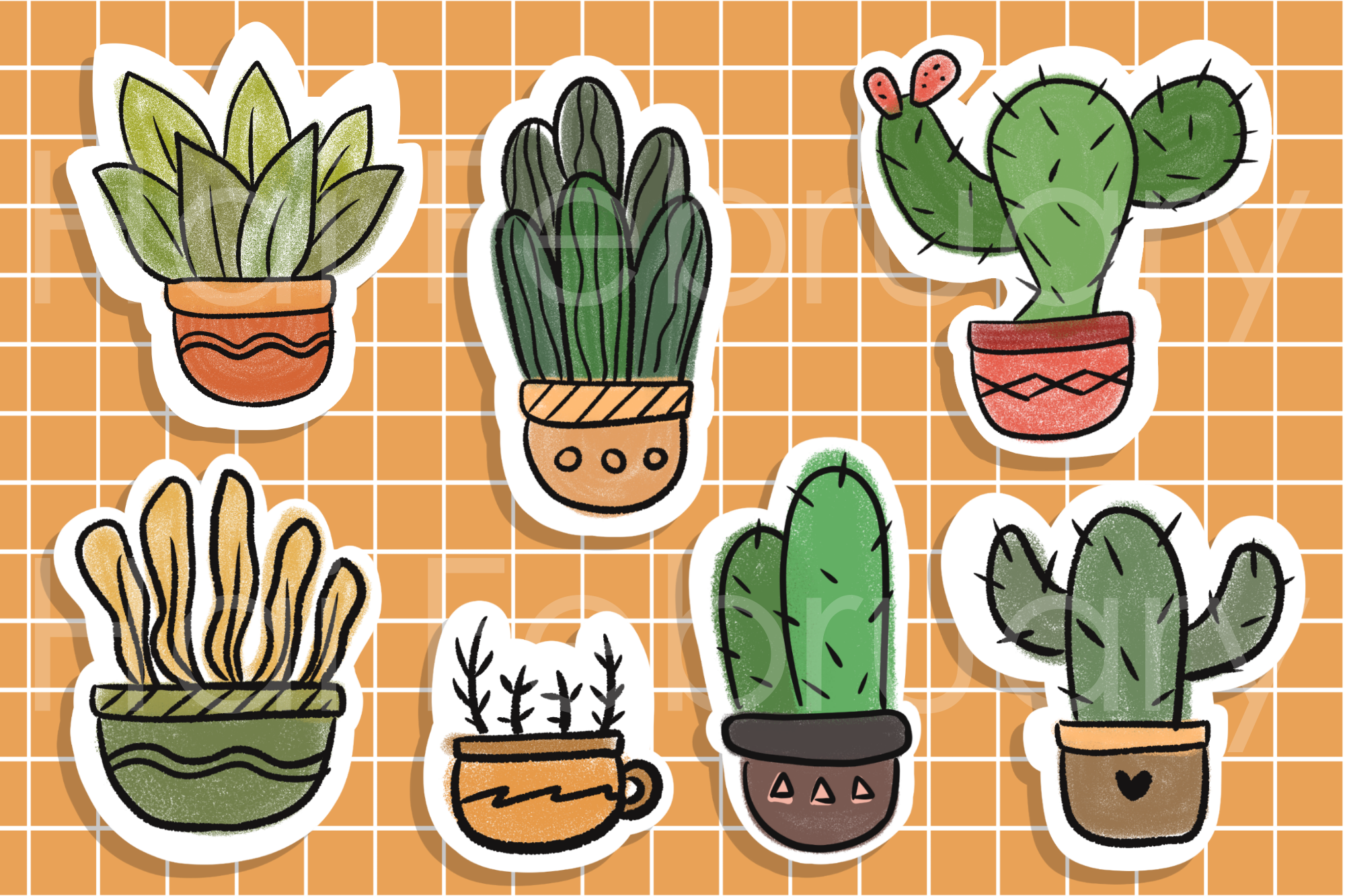 Cute Cactus Succulent Stickers Digital Graphic By Haifebruary Creative Fabrica