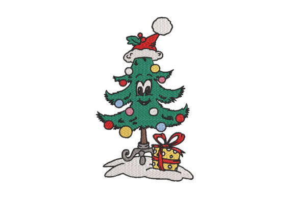Print on Demand: Cute Colorful Smiling Christmas Tree Christmas Embroidery Design By Embroidery Shelter