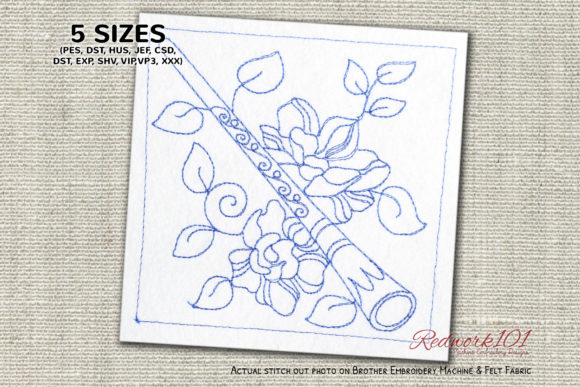 Didgeridoo Bluework Music Embroidery Design By Redwork101