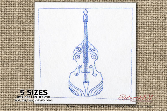 Double Bass Bluework Music Embroidery Design By Redwork101