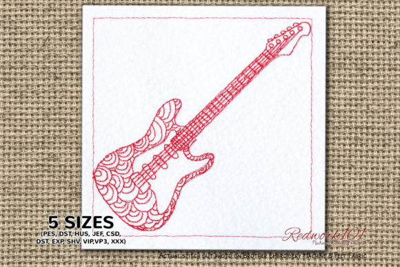 Electric-Guitar Redwork Music Embroidery Design By Redwork101