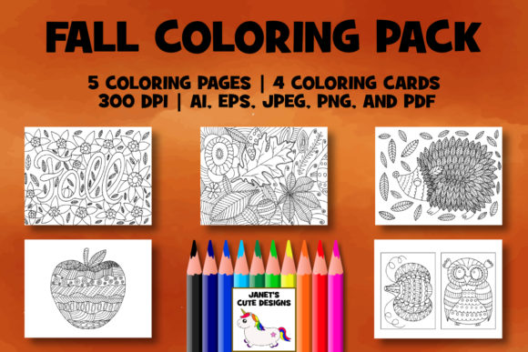 Print on Demand: Fall Coloring Pack Graphic Coloring Pages & Books By Janet's Cute Designs