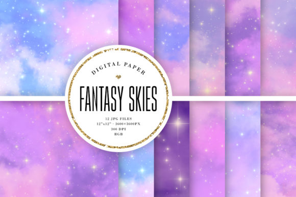 Print on Demand: Fantasy Sky Backgrounds - Pastel Galaxy Graphic Backgrounds By Sabina Leja