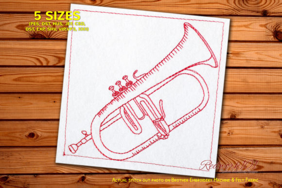 Flugelhorn-trumpet Music Embroidery Design By Redwork101