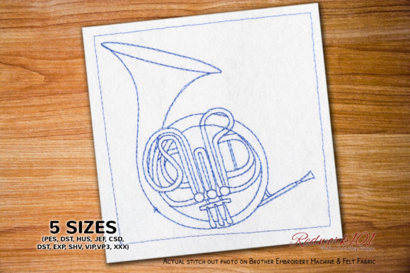 French Horn Lineart Music Embroidery Design By Redwork101