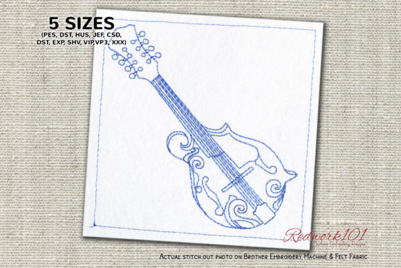 F-style Mandolin Bluework Music Embroidery Design By Redwork101