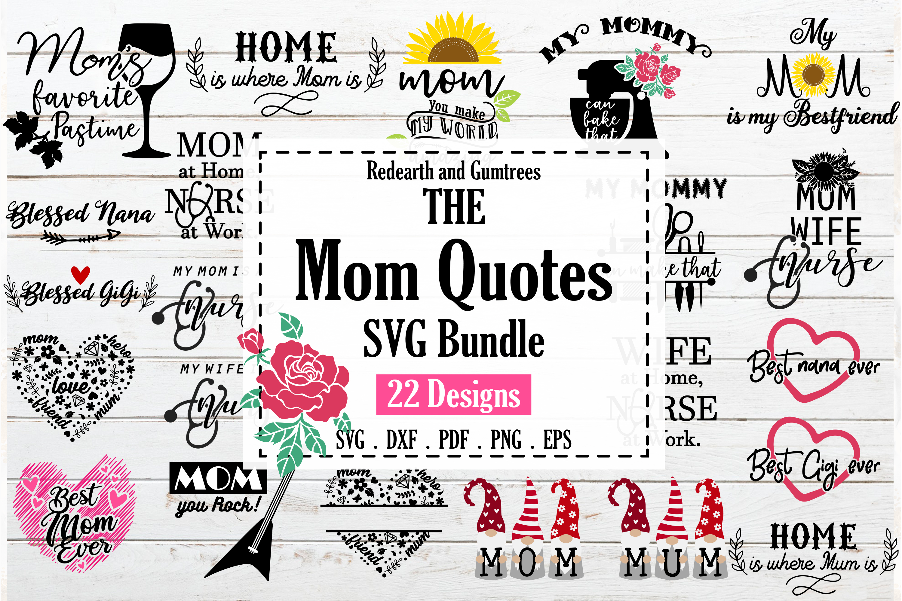 Funny Mom Quotes Bundle SVG File