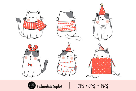 Funny Cat in Christmas Clip Art Graphic Illustrations By CatAndMe