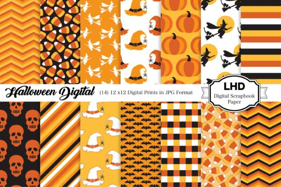 Halloween Digital Patterns Gráfico Moldes Por LeskaHamatyDesign