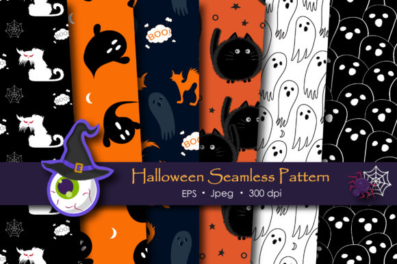 Print on Demand: Halloween Doodle Ghost and Cat Pattern Graphic Patterns By jannta - Image 1