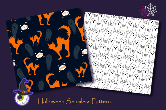 Print on Demand: Halloween Doodle Ghost and Cat Pattern Graphic Patterns By jannta - Image 3