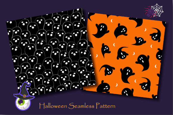 Print on Demand: Halloween Doodle Ghost and Cat Pattern Graphic Patterns By jannta - Image 4