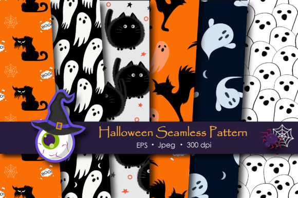 Print on Demand: Halloween Doodle Ghost and Cat Pattern Gráfico Moldes Por jannta
