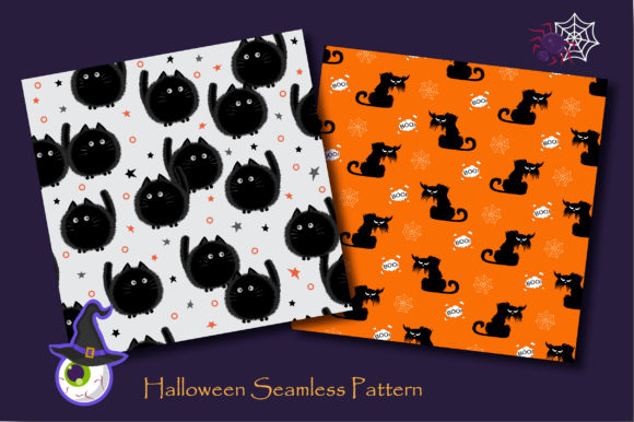 Print on Demand: Halloween Doodle Ghost and Cat Pattern Graphic Patterns By jannta - Image 2