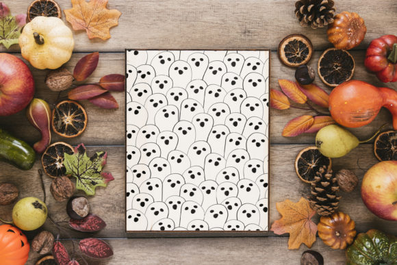 Print on Demand: Halloween Doodle Ghost and Cat Pattern Graphic Patterns By jannta - Image 7