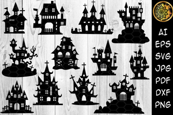 Print on Demand: Halloween Haunted House Silhouette  Graphic Illustrations By V-Design Creator