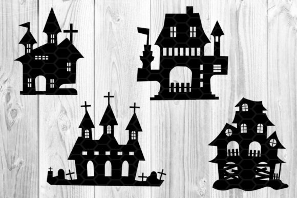 Halloween Haunted House Silhouette Graphic Illustrations By V-Design Creator - Image 2