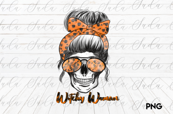Print on Demand: Halloween Sublimation Witchy Woman Skull Graphic Crafts By Suda Digital Art