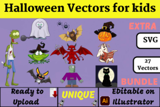 Halloween Vectors for Kids ( KDP ) Graphic Illustrations By Wiss_Tips designs