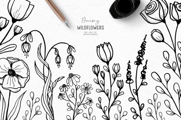 Print on Demand: Hand Drawn Floral Digital Stamps Graphic Illustrations By Wallifyer