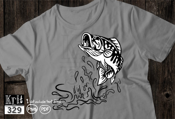 Jumping Bass Fish, Outline Draw Graphic Print Templates By Krit-Studio329
