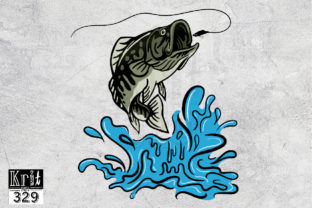 Jumping Bass Fish PNG Sublimation Graphic Print Templates By Krit-Studio329