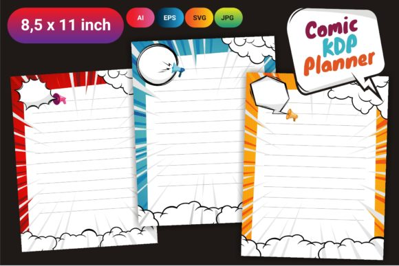 KDP Comic Daily Planner Best Template Graphic KDP Interiors By onoborgol