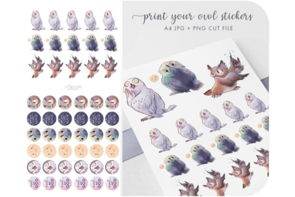 Magic Owl -  Clipart Printable Stickers Graphic Icons By Alphabelli