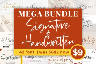 Print on Demand: Mega Script & Handwritten Fonts Bundle  By goodjavastudio