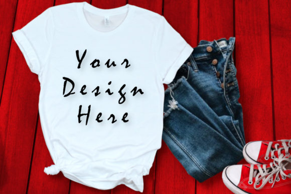 Mockups White T-shirt, Red Background Graphic Product Mockups By ArtStudio