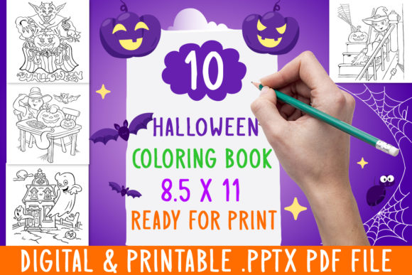 Print on Demand: New 10 Halloween Coloring Book for Kids Graphic Coloring Pages & Books Kids By DesignsBundles